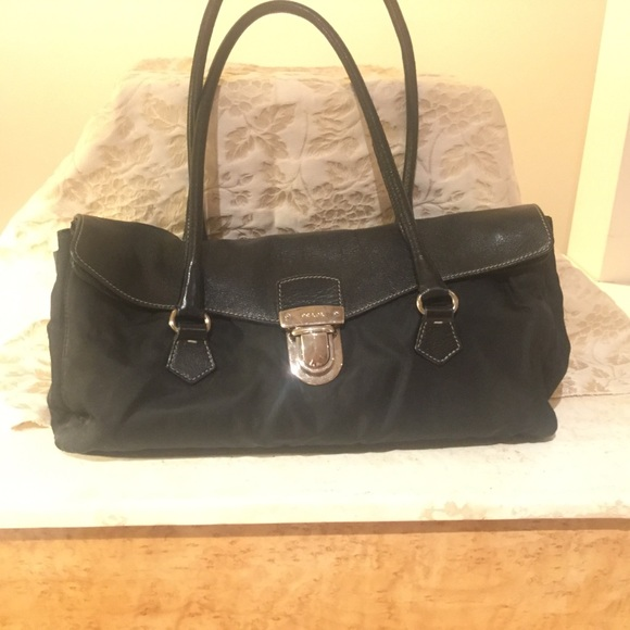 Prada Bags   Tessuto Black Nylon Leather Shoulder Bag   Poshmark 857a78e237